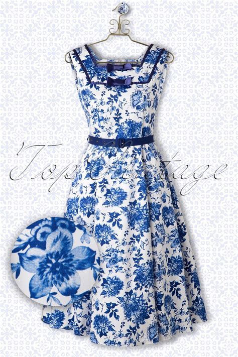 blue and white floor l 50s floral swing dress in blue and white