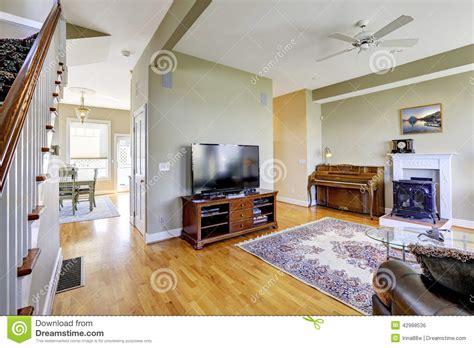 living room interior  fireplace  piano stock photo