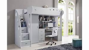 lit mezzanine mae gris et blanc en bois mdf de haute With meuble bar design contemporain 13 chambre enfant mixte with classique chambre denfant