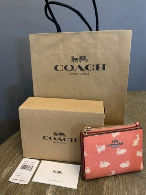 Coach uses cookies to improve your user experience and the quality of this site. Coach Snap Card Case Wallet 91200 Bunny Script Bright Coral for sale online   eBay