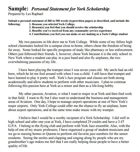 Personal Statement Template 4 Free Personal Statement Templates Word Excel Sheet Pdf