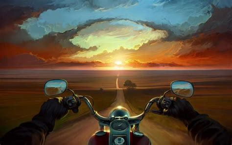 Art Road Hands Sunset Motorcycle