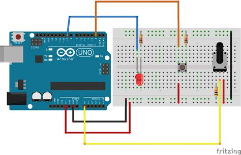 Button Turn Off Potentiometer Controlled Led