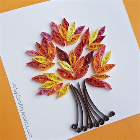 easy paper quilling fall tree craft autumn crafts