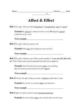 affect vs effect worksheet resultinfos