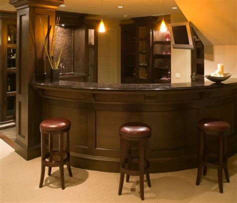 curved home wet bar tucks  basement stairwell corner