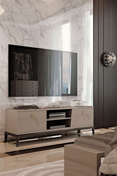italian designer art deco inspired tv media sideboard