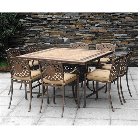 all weather frame ceramic table sunbrella fabric 9 pc