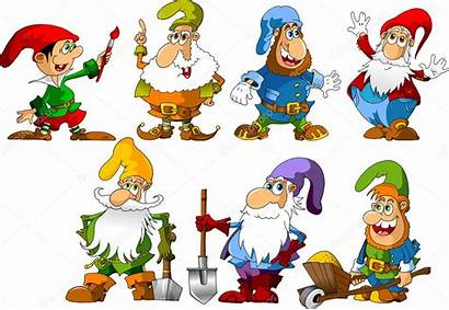 Gnomes Funny Vector Dwarfs Illustration Different Ages