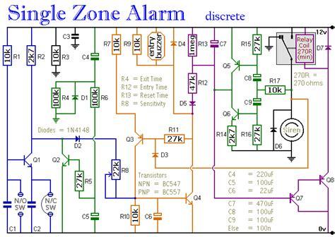 Transistor Based Single Zone Alarm Circuit Diagram