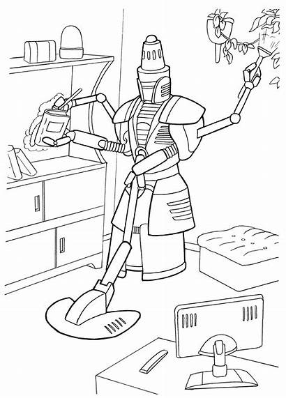 Coloring Robot Cleaning Pages Robots Colorkid Futuristic