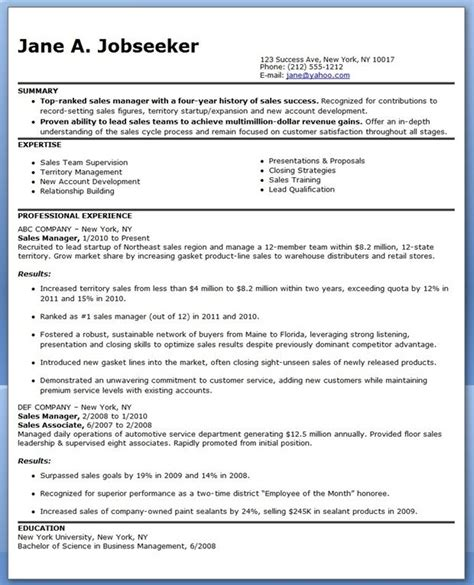 sales manager resume sle marketing creative resume