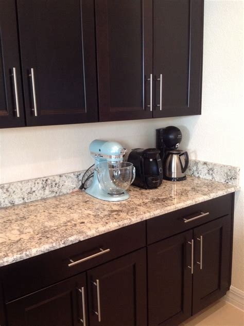 espresso cabinets with granite countertop and 5 1 2
