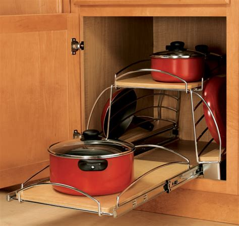 organizing pots and pans in a small kitchen pull out pot and pan caddy in pull out cabinet shelves 9868