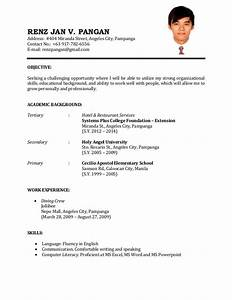 Format of resume for job sample resume for first time job for First time job resume examples