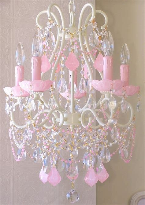 Light Pink Chandelier by 5 Light Chandelier With Pink Crystals Eclectic
