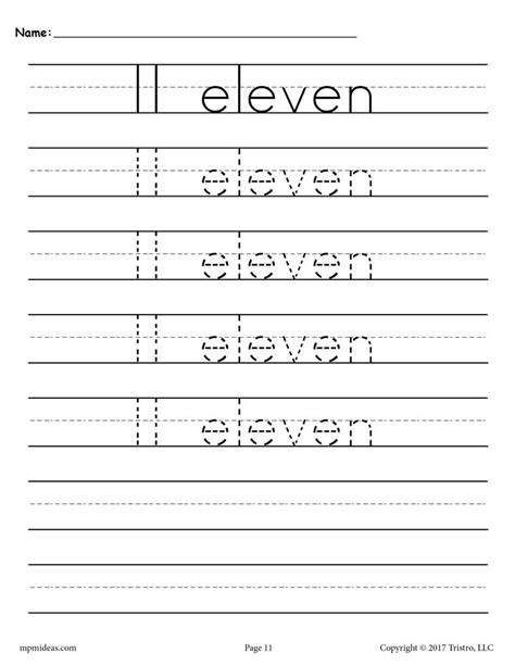 free number 11 tracing worksheet number eleven handwriting worksheet supplyme
