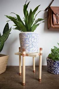 Copper, And, Wood, Plant, Stand, Diy