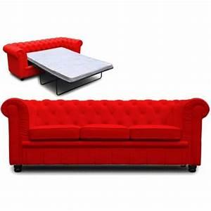 Canapé Convertible Chesterfield : photos canap chesterfield convertible rouge ~ Teatrodelosmanantiales.com Idées de Décoration