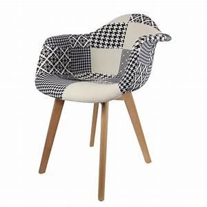 Fauteuil Scandinave Patchwork : fauteuil scandinave patchwork noir et blanc lcda ~ Teatrodelosmanantiales.com Idées de Décoration