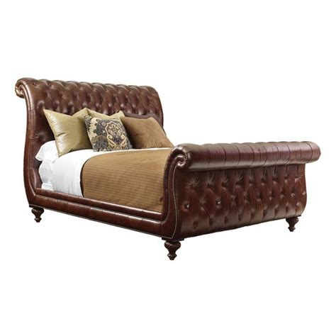 henredon henredon leather company king tufted sleigh bed