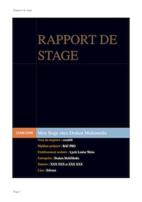 rapport de stage en cuisine rapport de stage pdf exemple page de garde ou pdf sur