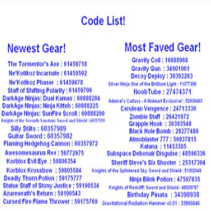 code list  gear roblox coding roblox codes game codes