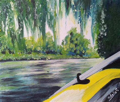 Willow Boat Painting by Yellow Boat Painting By Abbie Shores