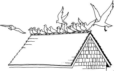 voegel sitzen auf dach ausmalbild malvorlage tiere