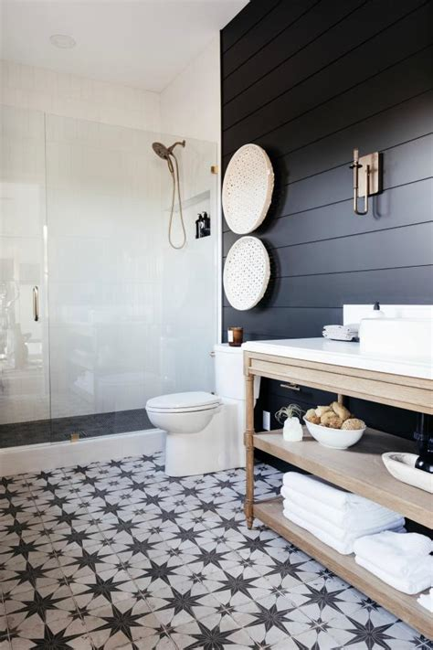 black guest bathroom  shiplap paneling hgtv