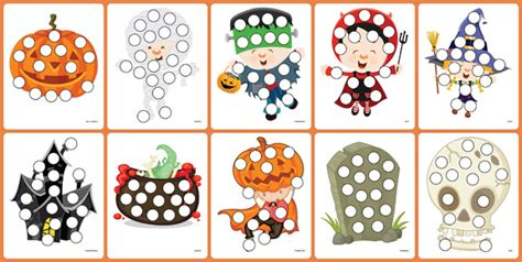 free preschool printable worksheets do a dot 363 | Halloween Picture Cards