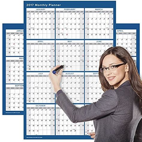 office calendar large erase wall calendar 24 x 36 yearly annual planner organizer office ebay
