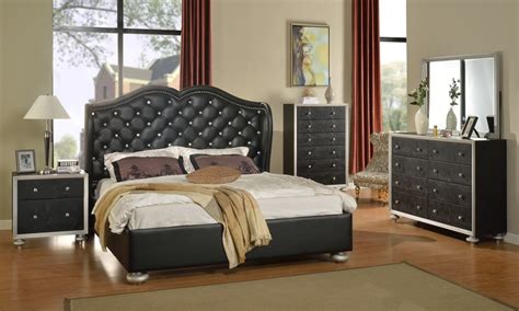 Black Leather Headboard Queen glam black crystal tufted leather bed