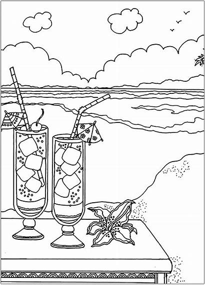 Beach Cocktails Coloring Stress Anti Pages Adults
