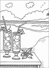 Beach Cocktails Coloring Stress Anti Pages Adults Drink Zen Adult Want These Justcolor sketch template
