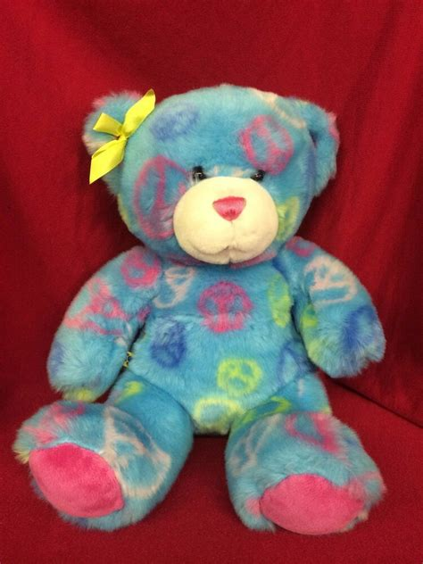 build  bear tie dyed colorful peace sign pattern teddy