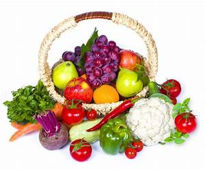 Composition Of Fruits And Vegetables In Wicker Basket ...