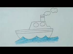 How to draw ship step by step very easily for kids ...