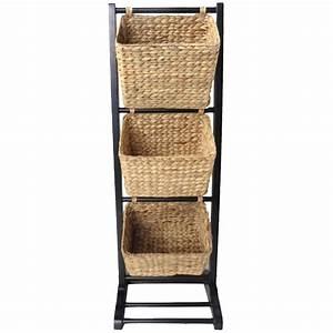 3, Tier, Acacia, Wood, Basket, Rack