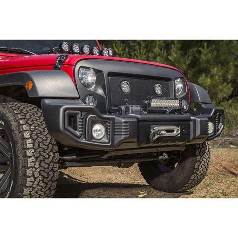 jeep wrangler front rugged ridge 11544 01 spartacus front bumper satin black