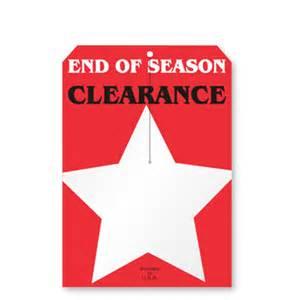 """End of Season Clearance, w/3.25"""" slit, 2 clip corners, Merchandise 12pt Tag, 250 Tags, 7""""x5"""""""