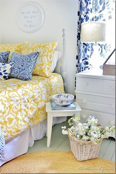 yellow and blue bedroom blue and yellow farmhouse bedroom thistlewood farm 17894 | blue and yellow guest bedroom thumb