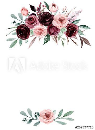 greeting card template  watercolor pink  burgundy