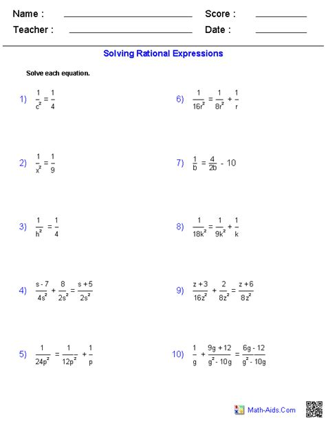solving rational equations worksheets tutoring algebra algebra 1 math manipulatives