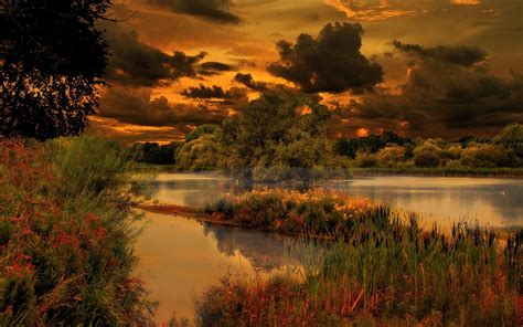 Pond Clouds Trees Nature Evening Lake Wallpapers Hd