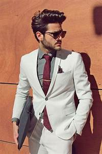 Costume Homme Mariage Blanc : costume blanc tenue homme chic veste blanche et pantalon blanc chemise grise look mariage ~ Farleysfitness.com Idées de Décoration