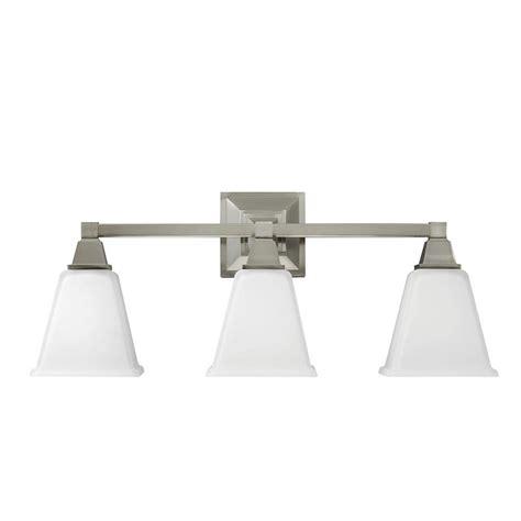home depot bathroom vanity lights brushed nickel sea gull lighting denhelm 3 light brushed nickel wall bath