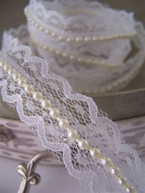 Pearls For Decoration - ivory lace and pearl beaded trimming ribbon vintage
