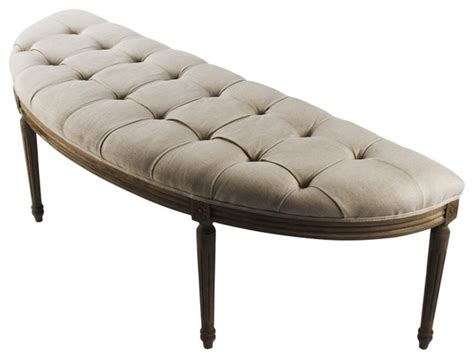 French Country Louis Curved Linen Bench