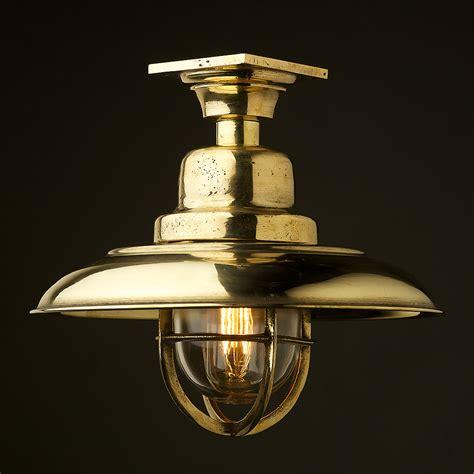 Vintage Brass Caged Reflector Ceiling Light • Edison Light